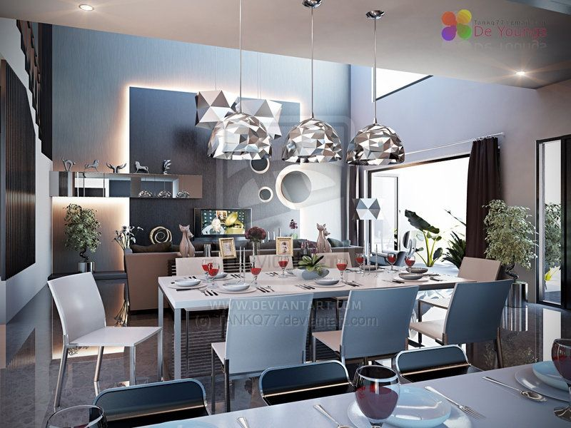 A Collection Of Interior Renders Showing Beautiful Dining Room Decor  Schemes, All With A Fresh, Light And Airy White Base.