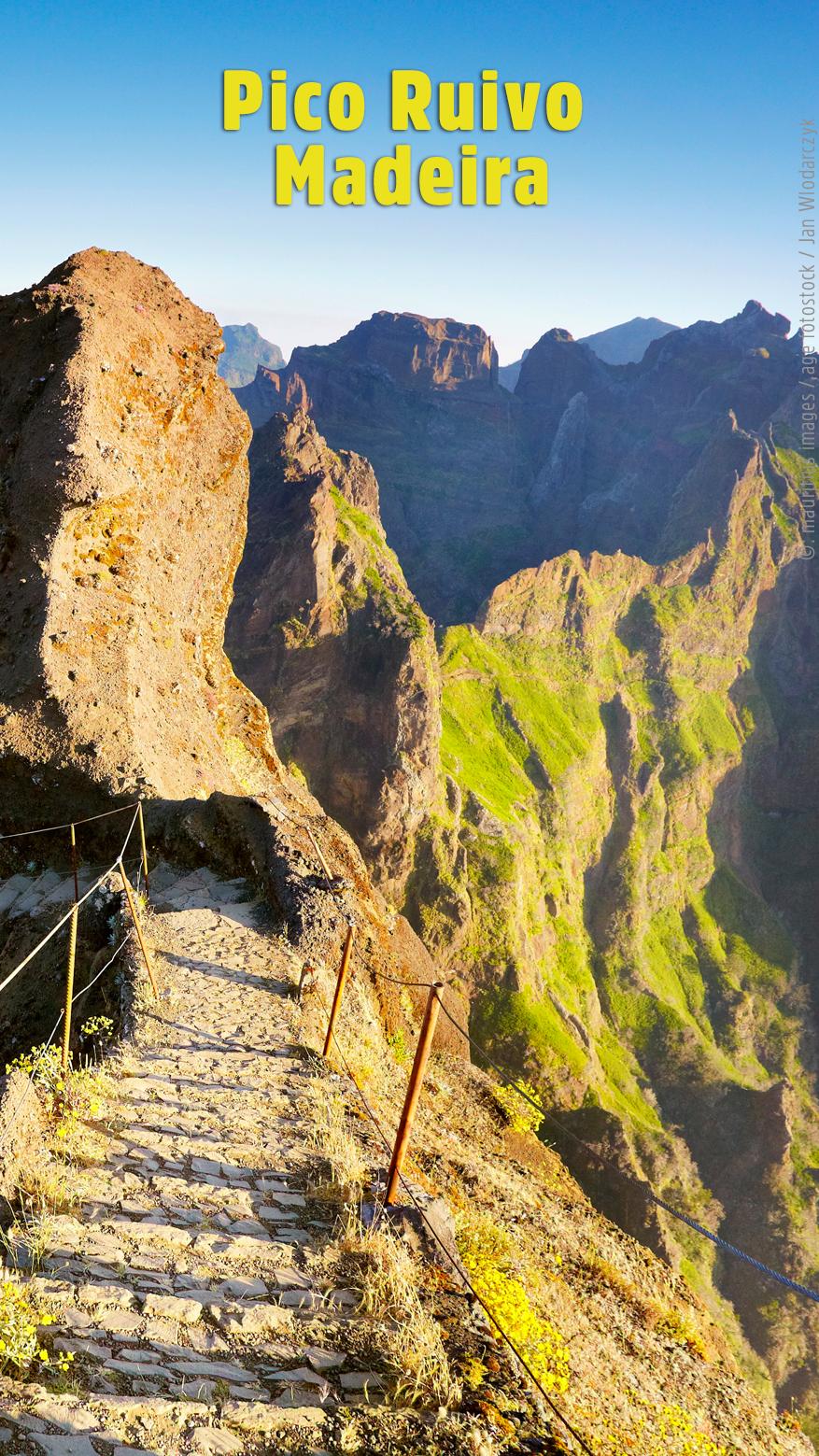Pico Ruivo, Madeira, Portugal. Wer bis zum Gipfel des Pico Ruivo wandern will, sollte Ausdauer und Schwindelfreiheit mitbringen. Belohnt werden Wanderer dafür mit einer spektakulären Aussicht über die wilde Natur von Madeira. #portugal
