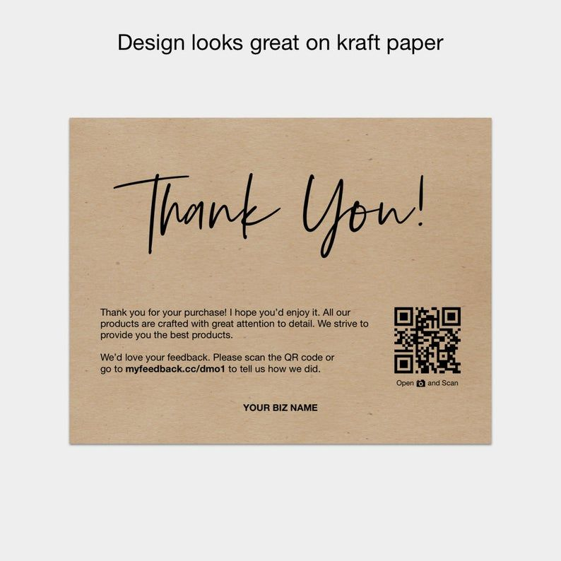 Printable Thank You Cards For Business Thank You For Your Purchase Cards Packaging Inserts In 2021 Purchase Card Printable Thank You Cards Thank You Card Design