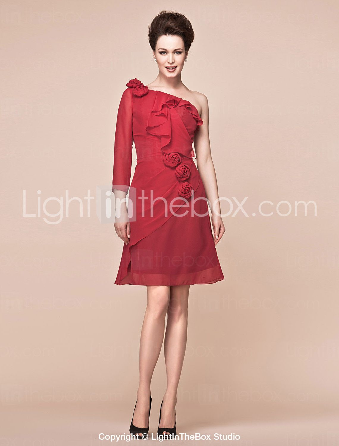 A-line One Shoulder Knee-length Chiffon Mother Of The Bride Dress - US$ 129.99