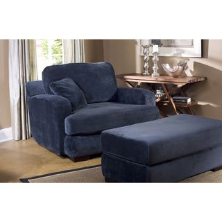 navy chair and ottoman