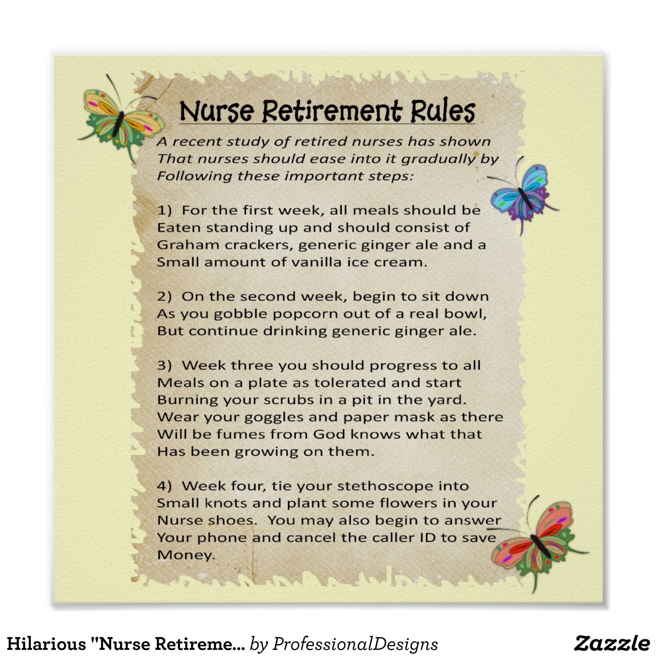 12x12 Poster Hilarious Quotnurse Retirement Rules Quot Poster 12x12