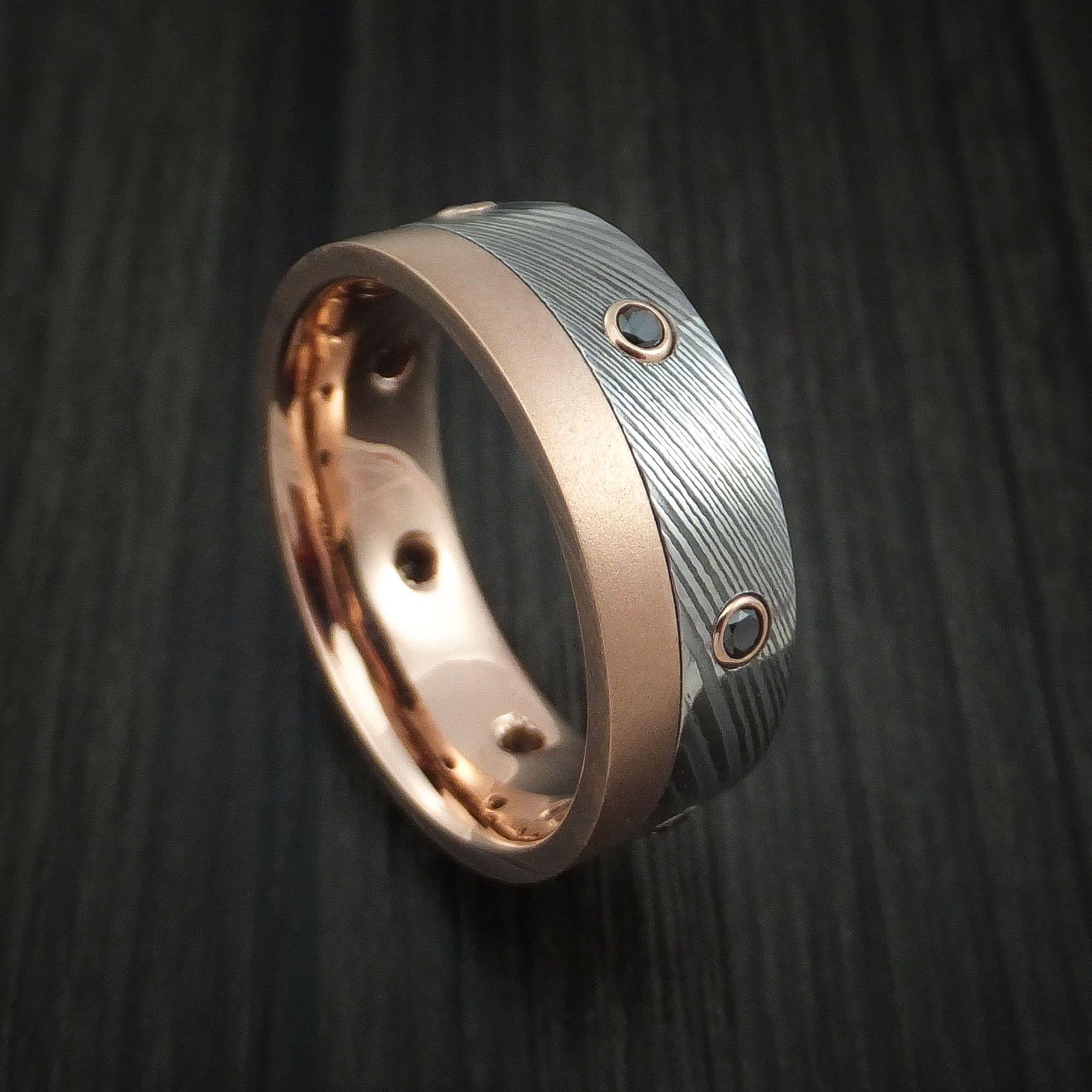 Damascus Steel And 10k Rose Gold Band With Black Diamonds Custom Made Ring In 2020 Damascus Steel Rings Black Diamond