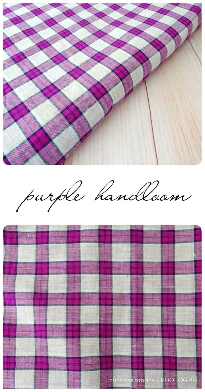 Beautiful purple and white hand woven cotton fabric madras check