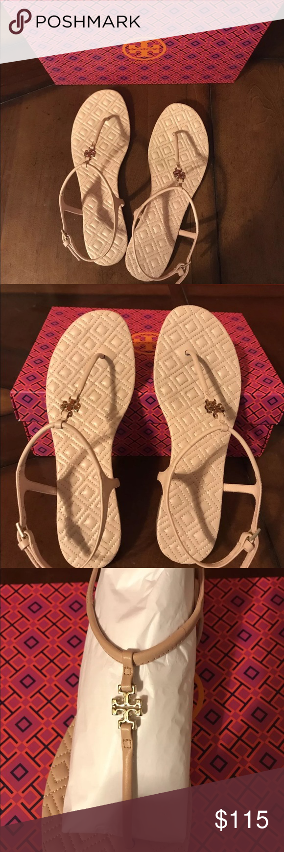 b2f255080e307 Tory Burch Marion Quilted Leather T-Strap Sandal Tory Burch Quilted T-strap  And TB Dust Bag Size  8.5 Clay Pink Sandals These sandals are very  beautiful and ...