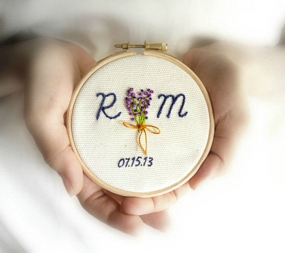 Personalized Wedding Gift Custom Embroidery Initials Keepsake Embroidered Decor Cuples Names Hoop Art By Hoopsydaisies On Etsy