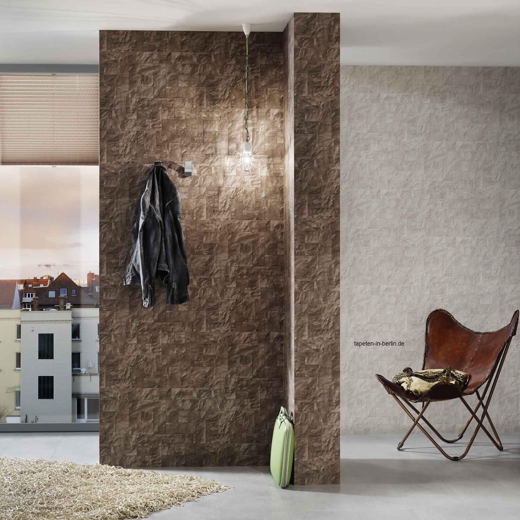 Wandgestaltung Mit Tapete In Stein Optik, Braune Steintapete Online Kaufen