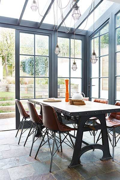 Beautiful Paints Conservatory And Industrial Table And Chairs Inspiration For Kitchen Side