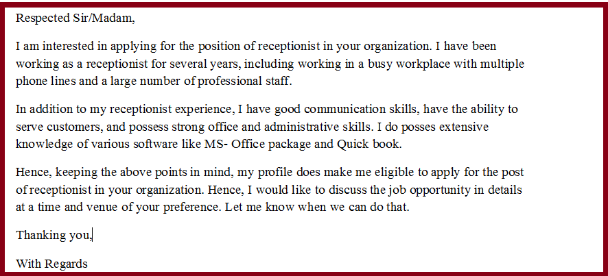 Cover letter examples for receptionist administrative assistant ...