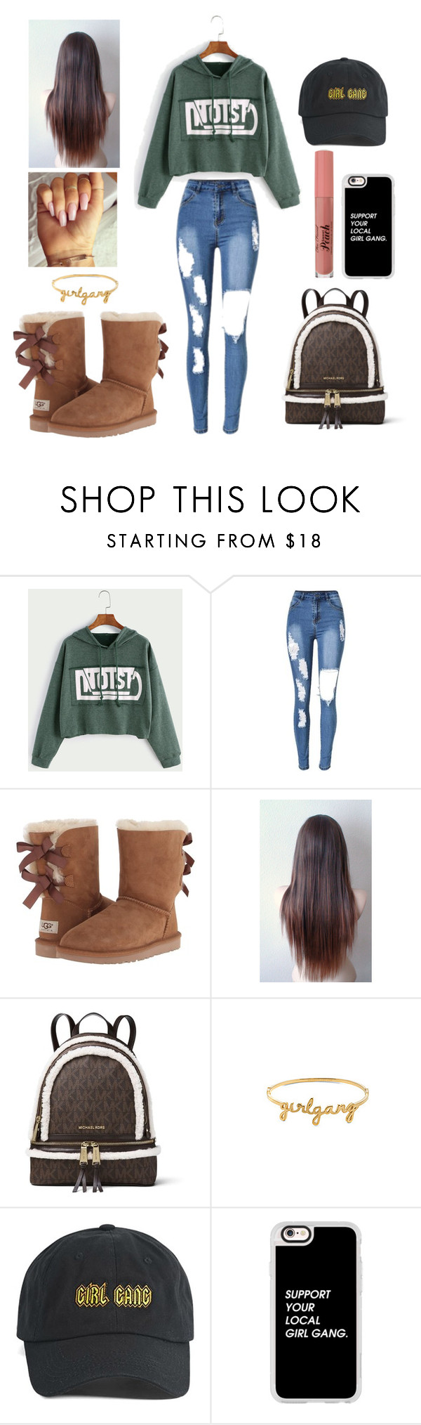 """#Girl Gang 😊👑😇💎"" by missmka on Polyvore featuring UGG Australia, MICHAEL Michael Kors, Wanderlust + Co, Forever 21 and Casetify"