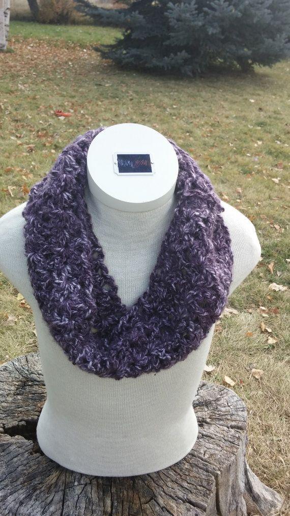 Variegated Purple Crocheted Cowl