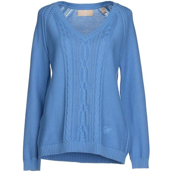 Pedro Del Hierro Jumper ($28) ❤ liked on Polyvore featuring tops, sweaters, pastel blue, blue jumper, lightweight sweaters, pastel sweater, long sleeve v neck sweater and embroidered sweaters
