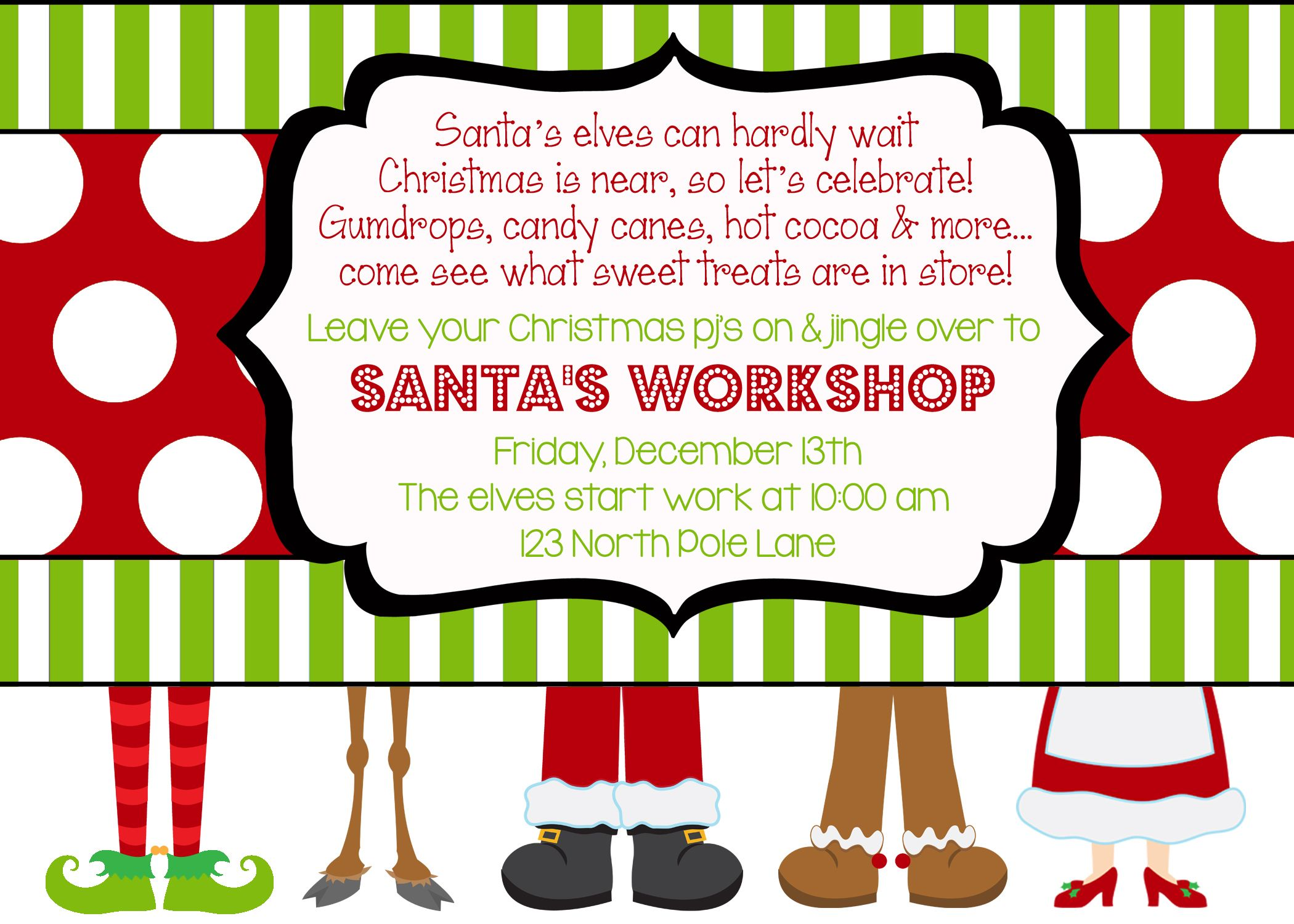 santa s workshop party invitation holiday invitations santa s workshop party invitation