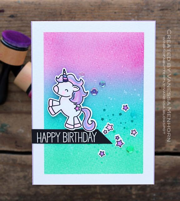 Wings Of A Butterfly Unicorn Birthday Card