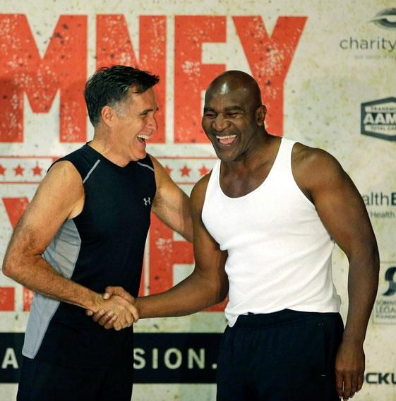 Evenly Matched Boxers Mitt Romney And Evan Holyfield Weigh