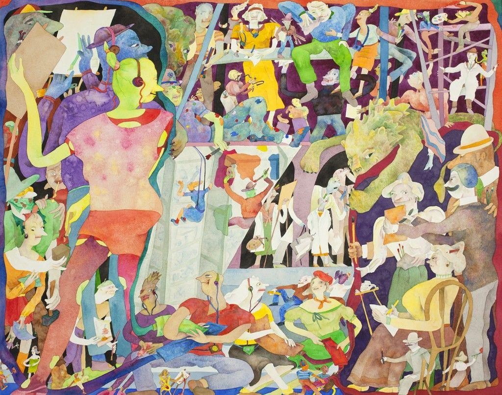 "Gladys Nilsson. ""Big School Picture; Little Paper Mural,"" 1992."