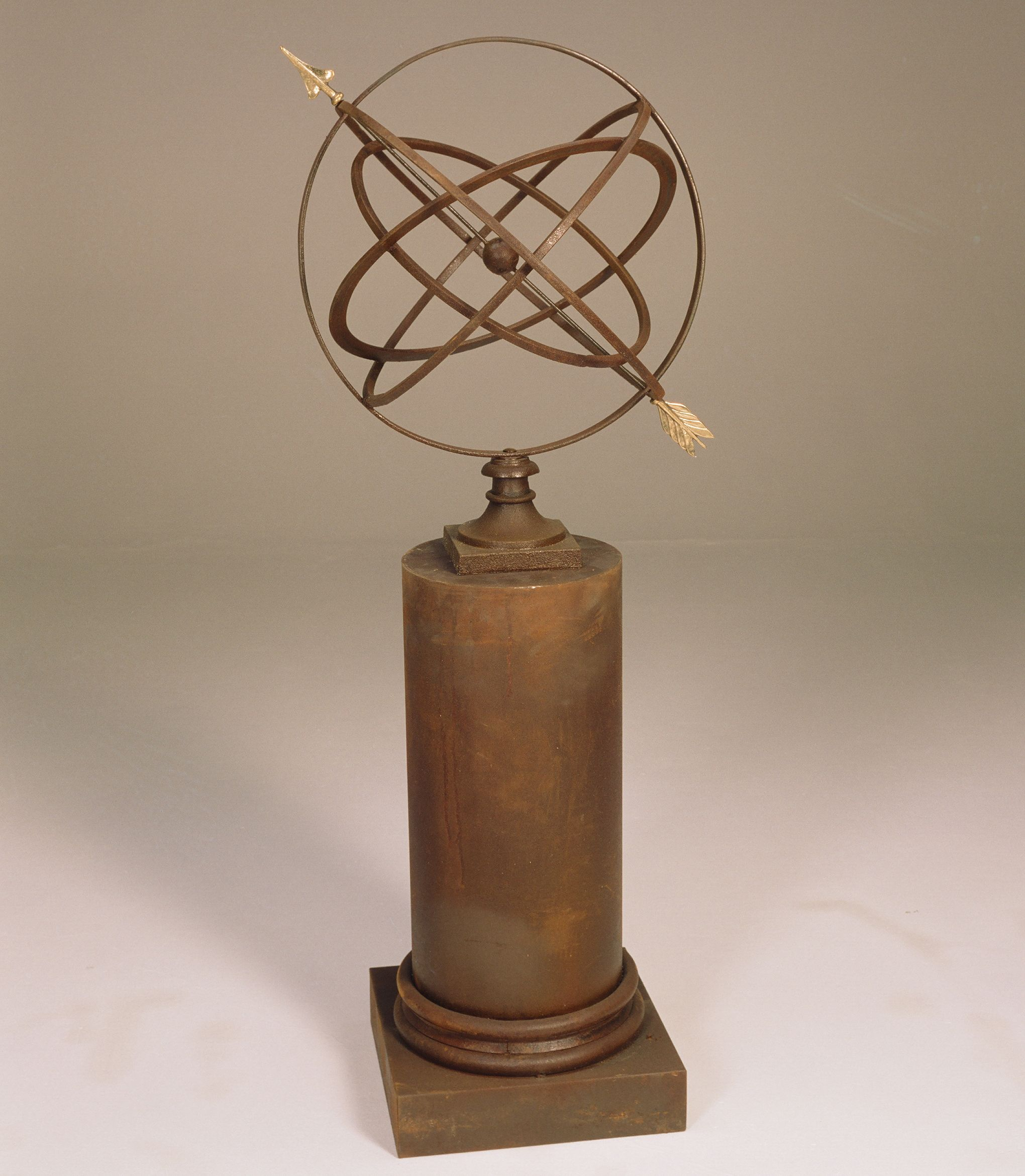 Large Armillary Sphere Garden Art on Column Pedestal Armillary