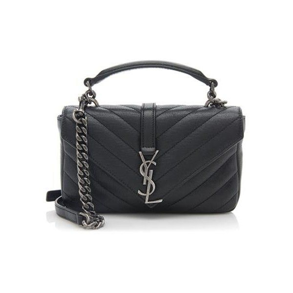 903f7055811c Rental Saint Laurent Matelasse Leather Monogram College Chain Wallet ( 150)  ❤ liked on Polyvore featuring bags