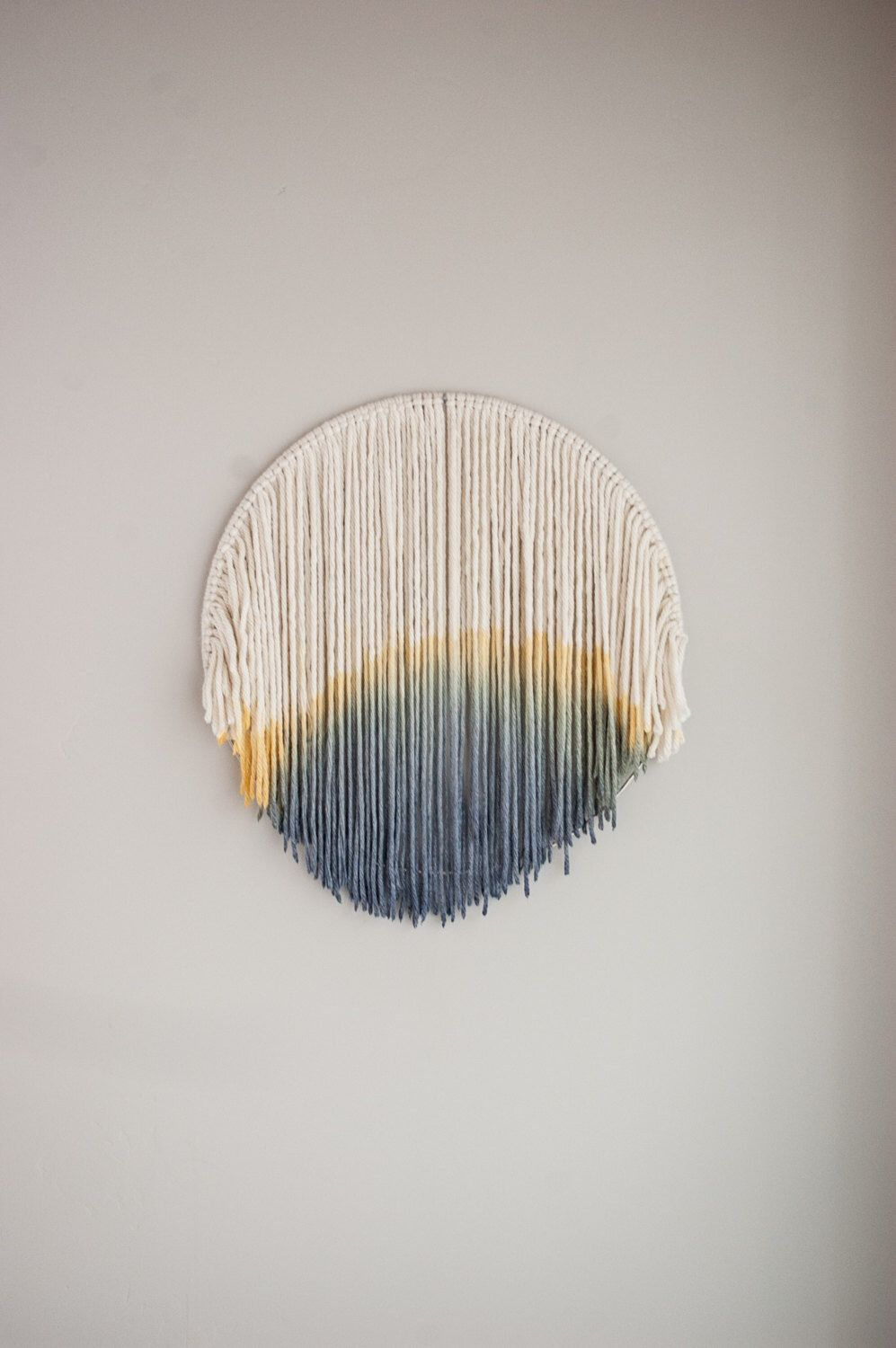 Yarn wall hanging | dip dyed wall hanging | round wall hanging | bohemian by Thoseindiemommies on Etsy https://www.etsy.com/listing/504823645/yarn-wall-hanging-dip-dyed-wall-hanging