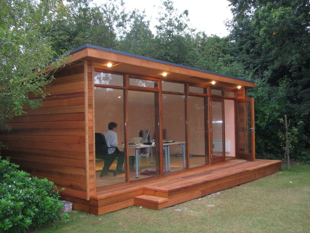 Outdoor artistic and lovely wood shed office design for Garden office interior design ideas