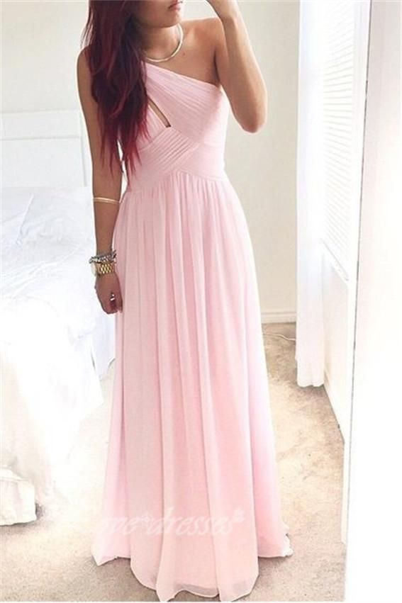 Pink One-Shoulder Simple Prom Dress, Prom Dresses, Simple Prom ...