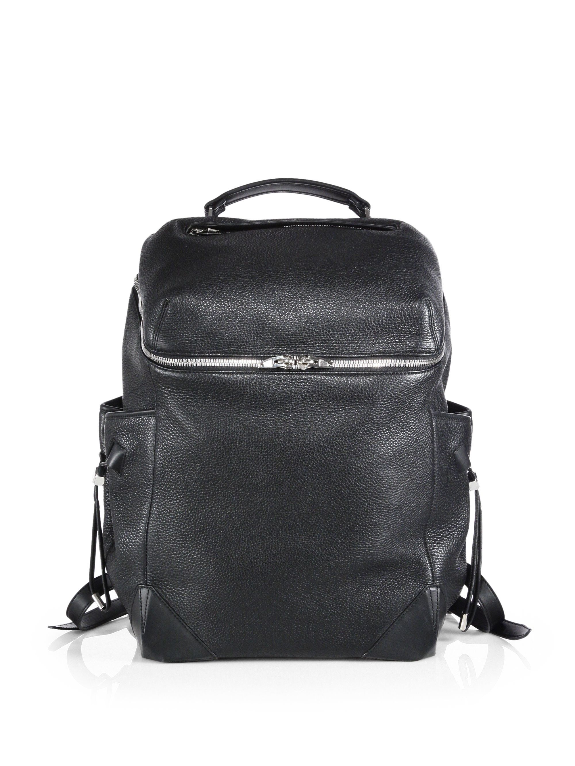 c60a732d52f1 Alexander Wang Wallie Pebbled Leather Backpack in Black for Men ...