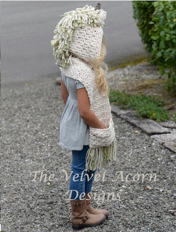 Crochet PATTERN-The Ulyne Unicorn Hooded Scarf (12/18 months ...
