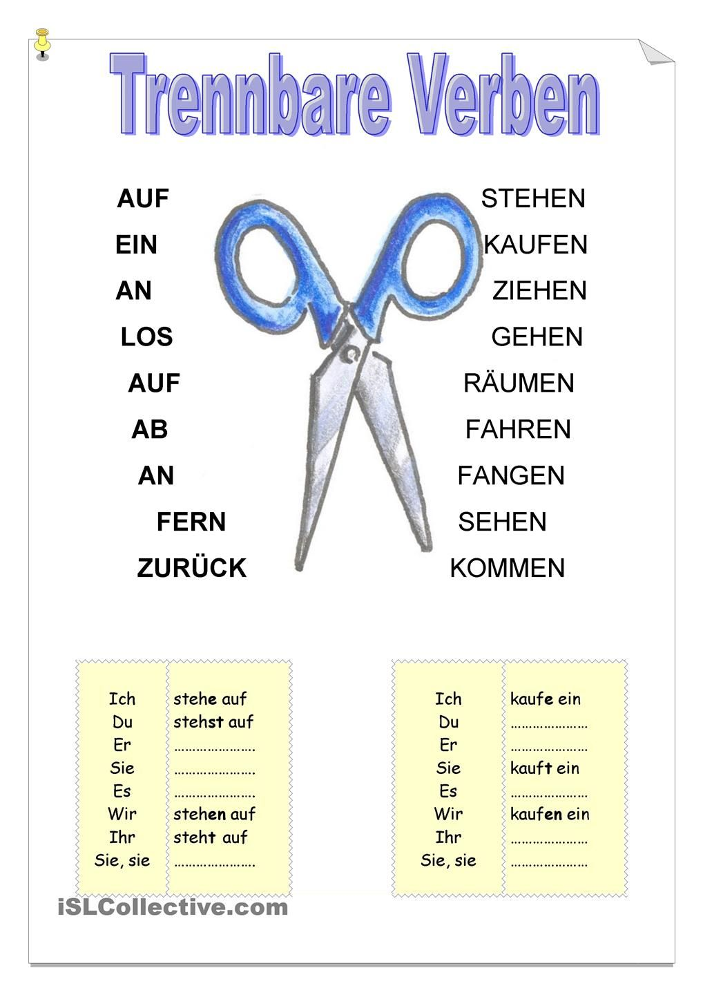 Worksheets German Grammar Worksheets trennbare verben deutsch and worksheets worksheets