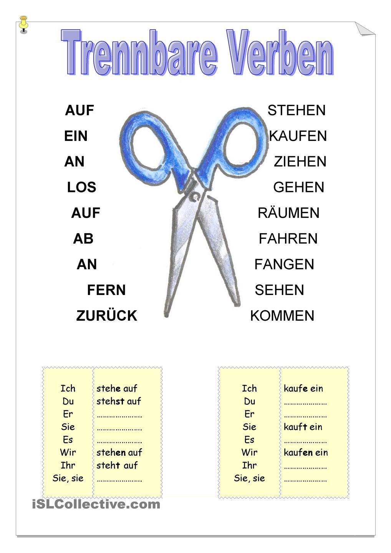 Trennbare Verben | german | Pinterest | Worksheets, German and ...