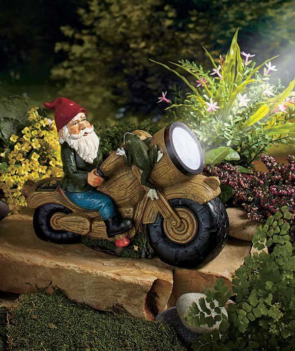 Gnome Solar Ed Motorcycle Statue W 3 Led Light Garden Lawn