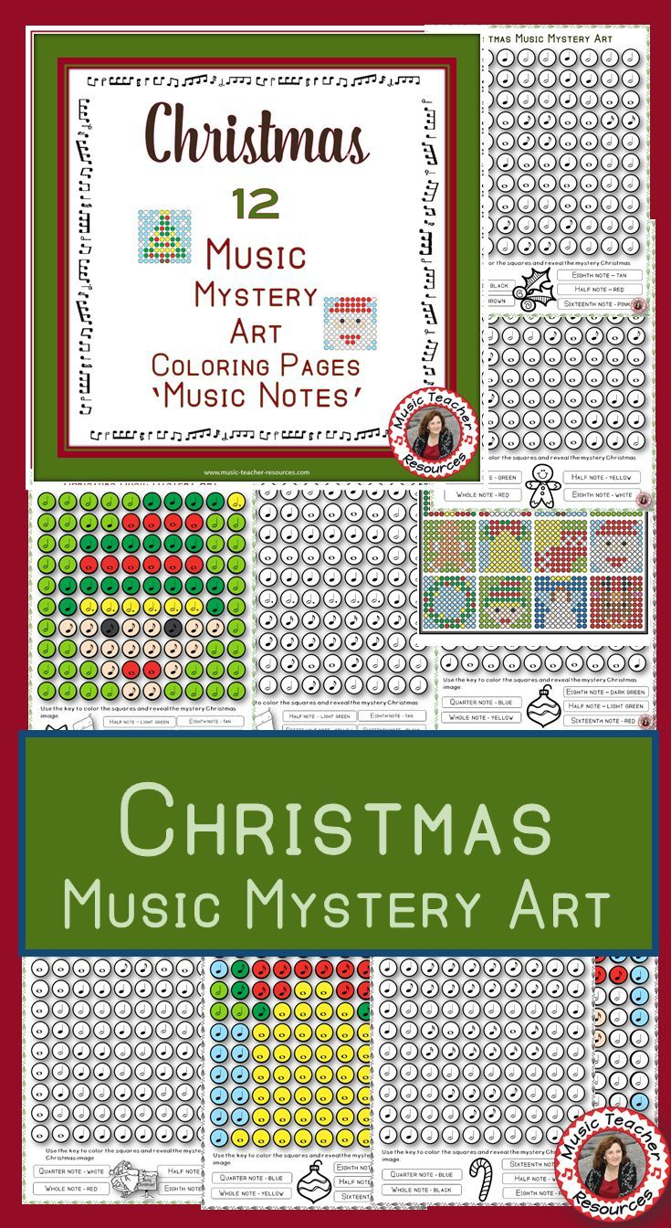Christmas Color by Music Note 12 Music Coloring Pages: Music Mystery ...