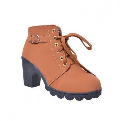 ... Sapatos Importados de Parise Joias. BOTA COTURNO MARROM - Bota cano  curto de couro ecológico com cadarço. Salto de 8cm 1a6507ba74a45