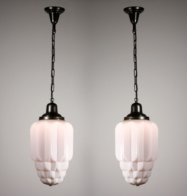 Two matching antique art deco skyscraper pendant lights with sun two matching antique art deco skyscraper pendant lights with sun purple shades nc1082 for sale aloadofball Images
