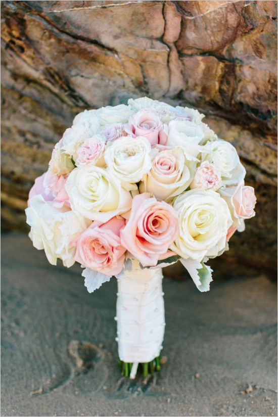 Pink And White Beach Wedding At Crystal Cove White Rose Bouquet