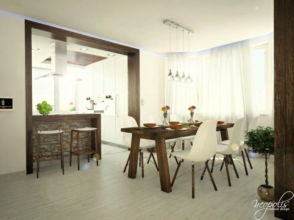 Presvetlená jedáleň - Interiér domu s použitím prírodných materiálov