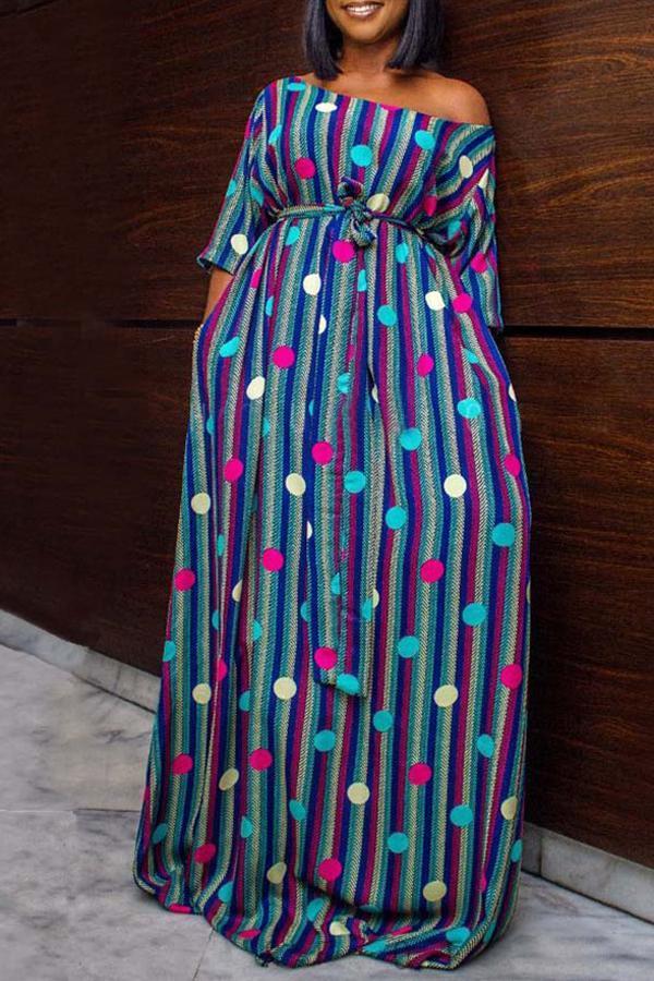 Stylish One Shoulder Striped Printed Floor Length Dress