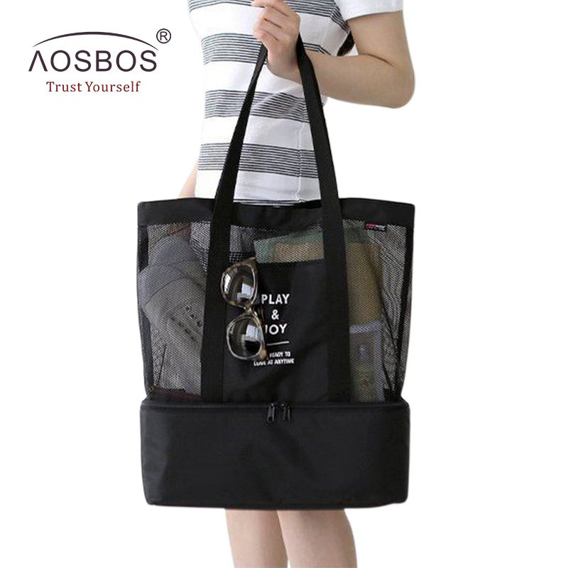Aosbos Nylon Travel Portable Picnic Bag Thermal Cooler Insulated Mesh Lunch  Bags Tote for Women Men 7ced0bddf6b8d