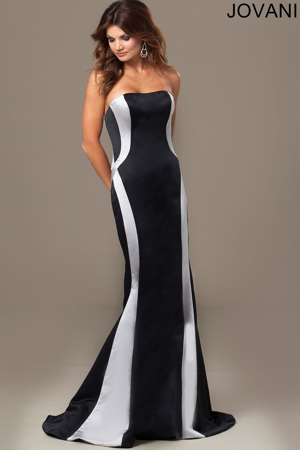 Twotoned satin defines the paneled sheath silhouette of jovani