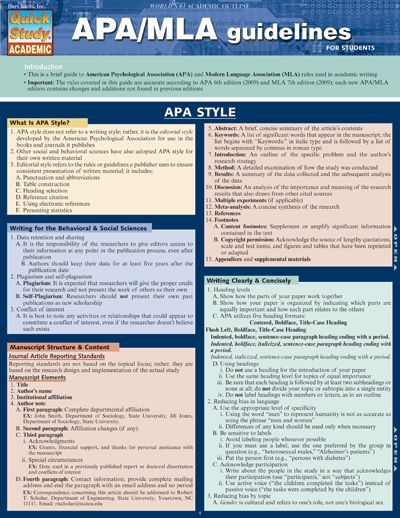 APA/MLA GUIDELINES QuickStudy® $595 our handy APA/MLA Guidelines - sample instruction manual template