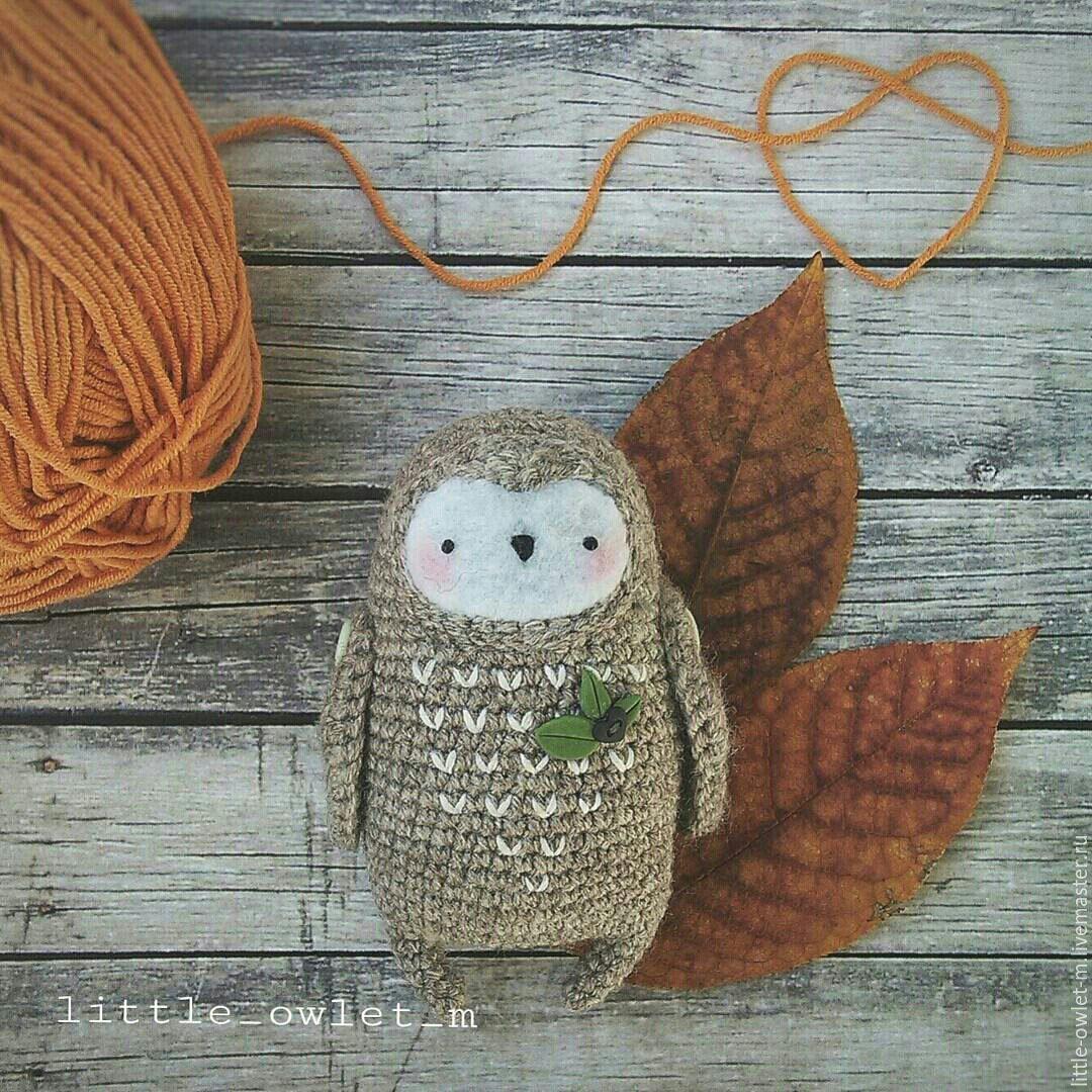 Купить Совенок - серый, сова, совенок, сова вязаная, совушка, сова игрушка, сова в подарок
