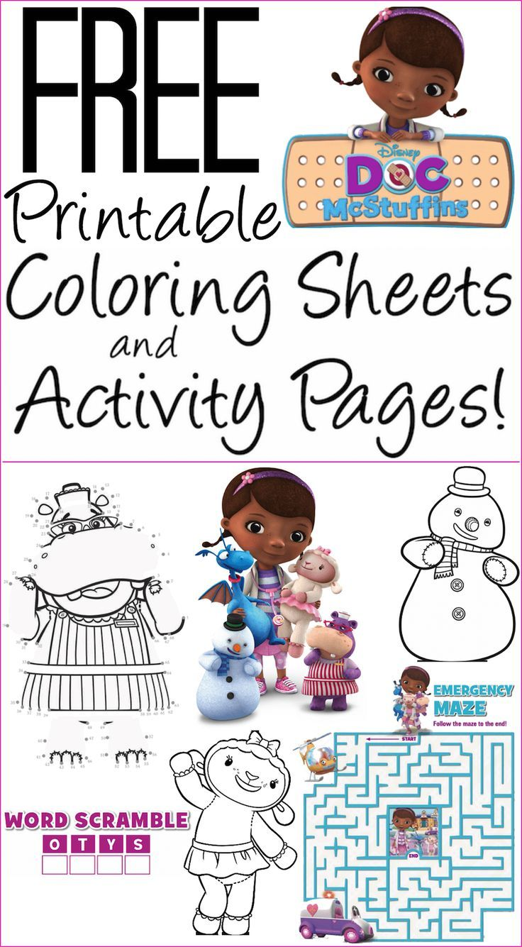 Free Doc McStuffins Coloring Pages, Activity Sheets: Print them Now ...