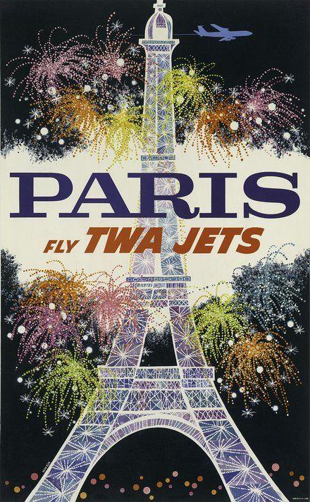 FRANCE ...A1 A2 A3 A4 Sizes Vintage TWA Travel Poster to PARIS
