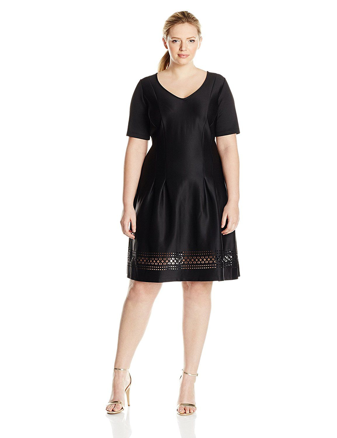Ny Collection Womens Plus Size Short Sleeve V Neck Aline Dress