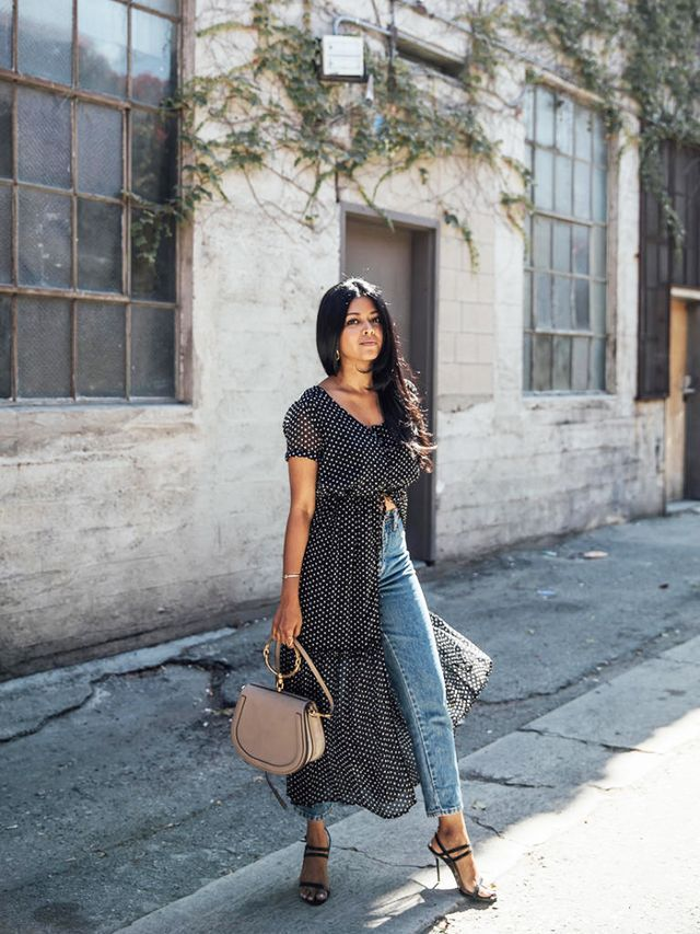 Maxi Dress Over Jeans Trend