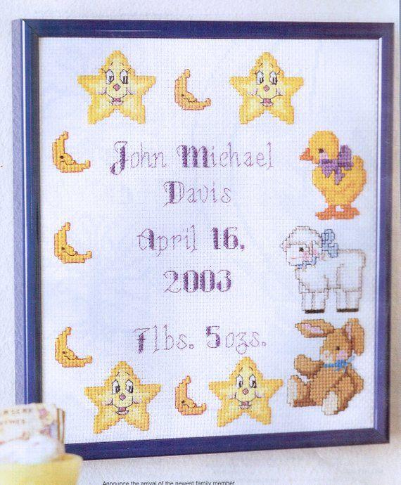 Nursery Teddy Bear New Baby Birth Sampler Cross Stitch Chart K