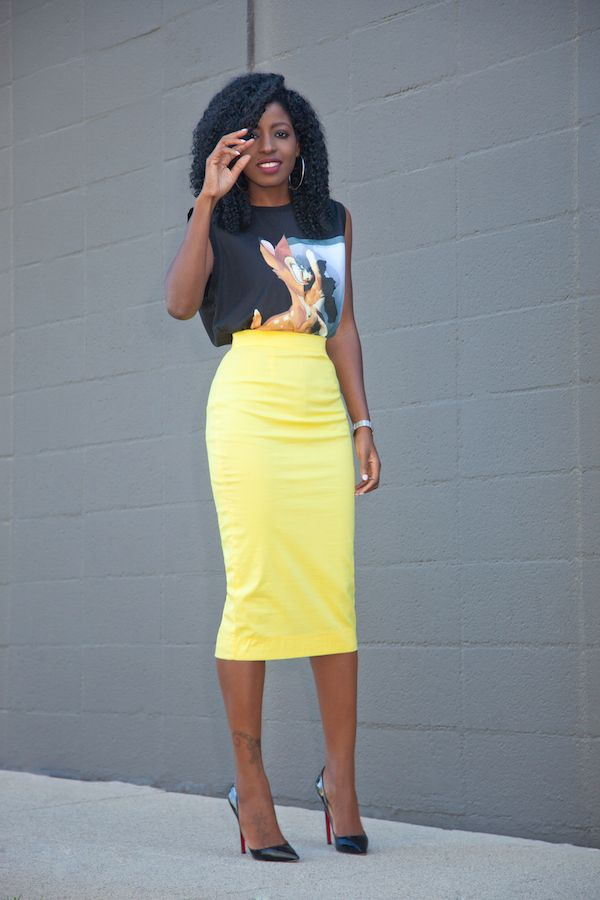 caa6cef6cc Bambi Print Tee + Yellow Pencil Skirt (Style Pantry) | Dresses ...