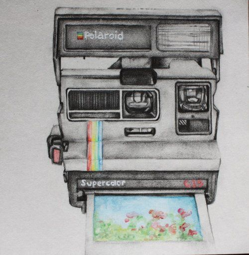 polaroid camera drawing tumblr | peace love smiley face ...