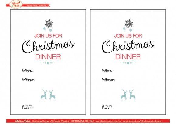 Free Christmas Printables from Cherries u0027n Berries Modern - free dinner invitations