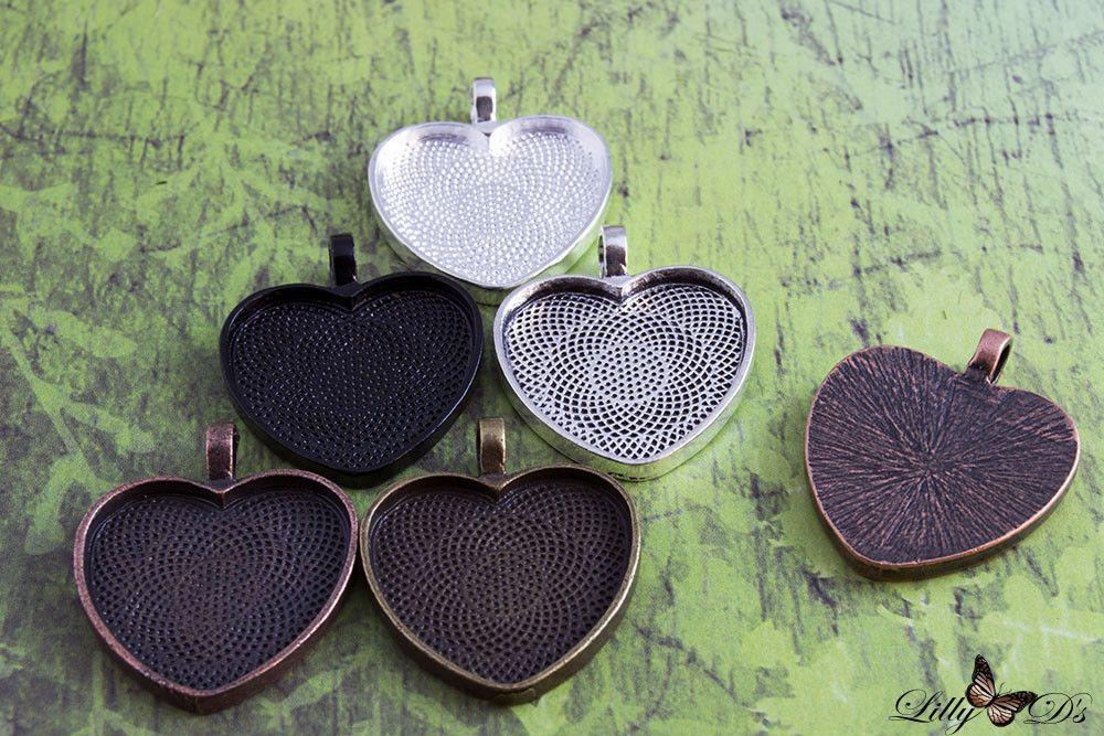 1 Inch (25mm) Heart Photo Pendant Tray Blanks
