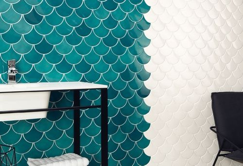 Carrelage écaille De Poisson Bleu Canard Squama Emerald Home - Carrelage écaille de poisson